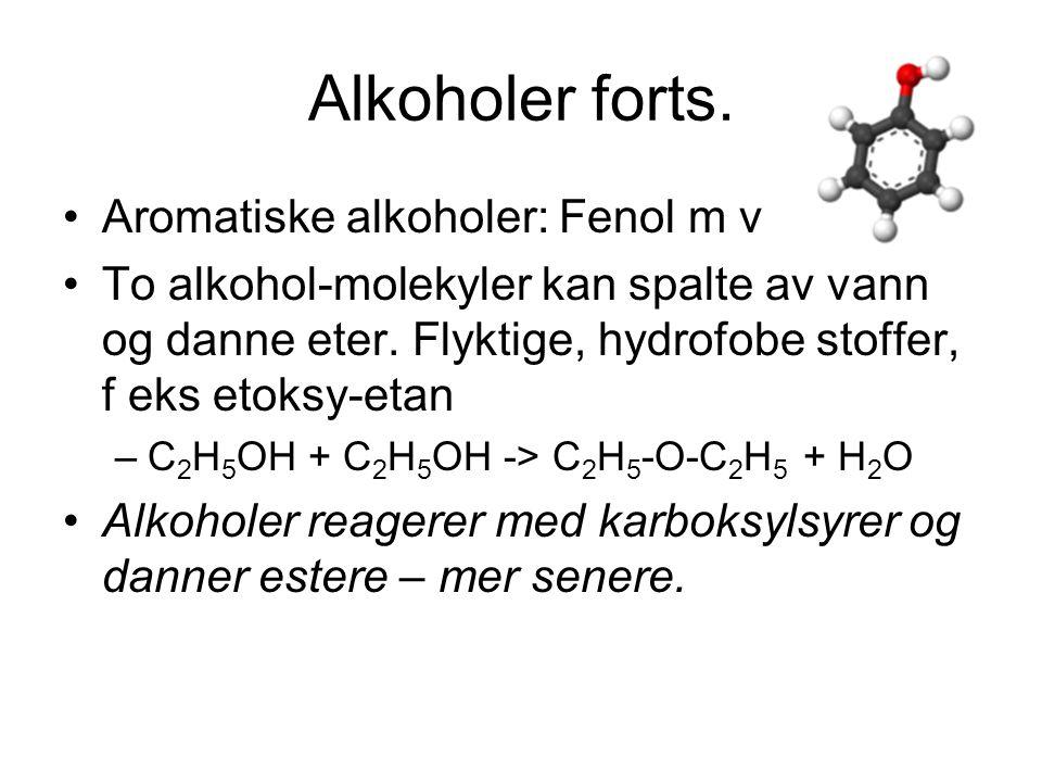 Alkoholer forts.Flerverdige alkoholer: Inneholder flere OH- grupper.