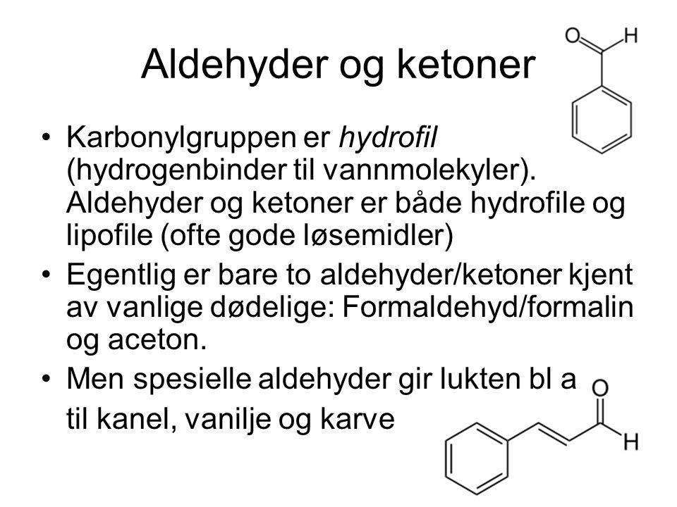 Karboksylsyrer Hovedkjennetegn/funksjonell gruppe: COOH-gruppe (karboksylgruppe) i enden av molekylet (karbonkjeden) Framstilles fra aldehyd: CHO-gruppe oksyderes til COOH Karboksylsyrer er svake syrer fordi COOH-gruppen kan spalte av H + : R-COOH -> R-COO - + H + Hovedregel for navnsetting: Ta navn på tilsvarende hydrokarbon, legg til –syre: Metansyre (maursyre), etansyre (eddiksyre), propansyre,…