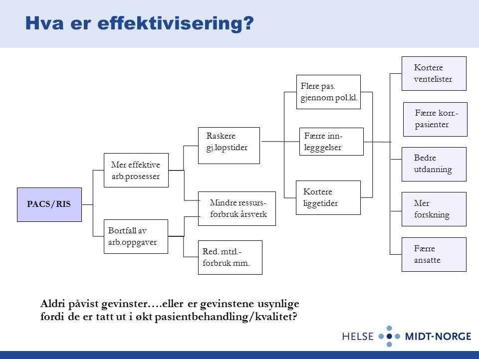 Hva er effektivisering. PACS/RIS Mer effektive arb.prosesser Raskere gj.løpstider Flere pas.