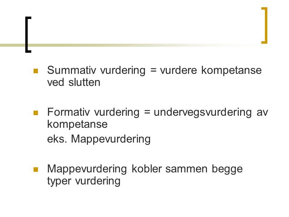 Summativ vurdering = vurdere kompetanse ved slutten Formativ vurdering = undervegsvurdering av kompetanse eks. Mappevurdering Mappevurdering kobler sa