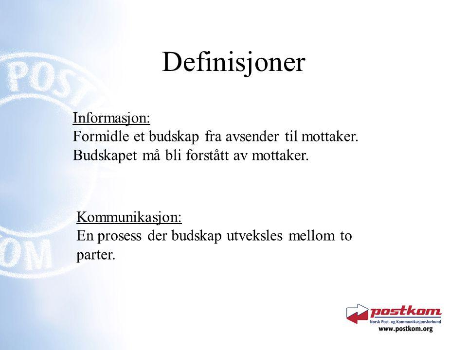 Definisjoner Informasjon: Formidle et budskap fra avsender til mottaker. Budskapet må bli forstått av mottaker. Kommunikasjon: En prosess der budskap