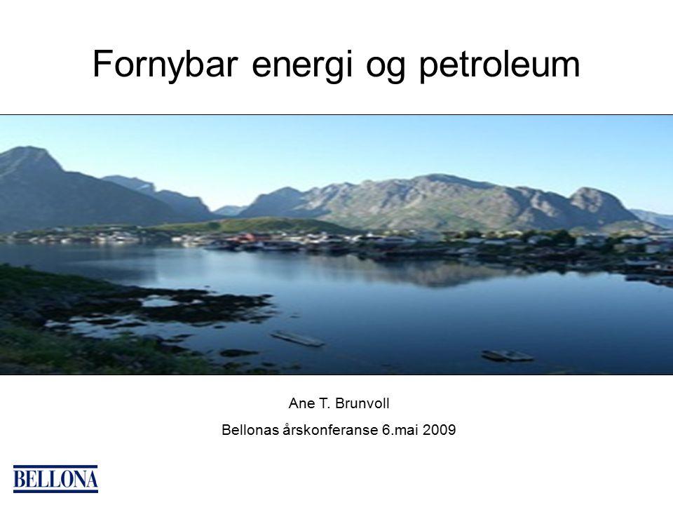 Fornybar energi og petroleum Ane T. Brunvoll Bellonas årskonferanse 6.mai 2009