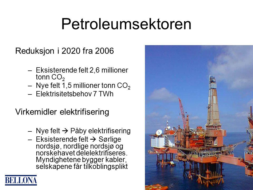 Petroleumsektoren Reduksjon i 2020 fra 2006 –Eksisterende felt 2,6 millioner tonn CO 2 –Nye felt 1,5 millioner tonn CO 2 –Elektrisitetsbehov 7 TWh Virkemidler elektrifisering –Nye felt  Påby elektrifisering –Eksisterende felt  Sørlige nordsjø, nordlige nordsjø og norskehavet delelektrifiseres.