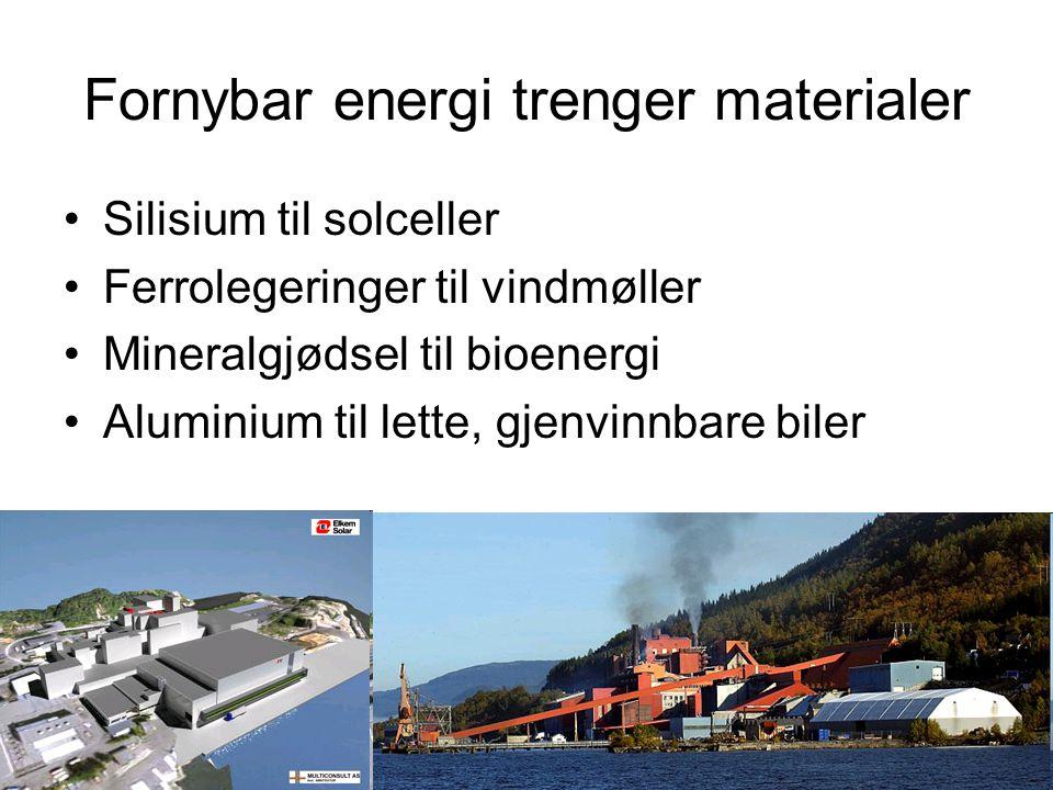 Fornybar energi trenger materialer Silisium til solceller Ferrolegeringer til vindmøller Mineralgjødsel til bioenergi Aluminium til lette, gjenvinnbare biler