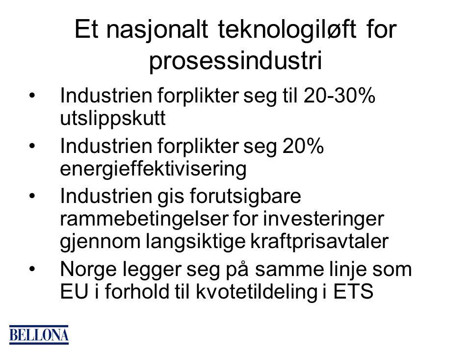 Et nasjonalt teknologiløft for prosessindustri Industrien forplikter seg til 20-30% utslippskutt Industrien forplikter seg 20% energieffektivisering Industrien gis forutsigbare rammebetingelser for investeringer gjennom langsiktige kraftprisavtaler Norge legger seg på samme linje som EU i forhold til kvotetildeling i ETS