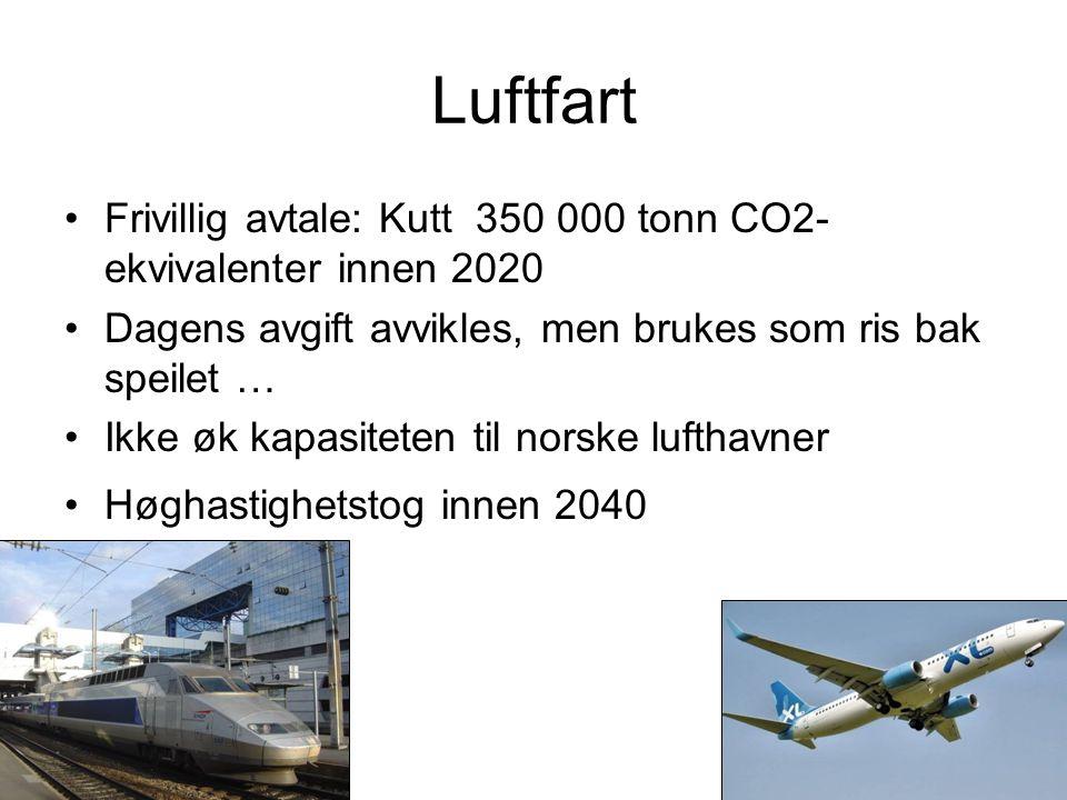 Luftfart Frivillig avtale: Kutt 350 000 tonn CO2- ekvivalenter innen 2020 Dagens avgift avvikles, men brukes som ris bak speilet … Ikke øk kapasiteten til norske lufthavner Høghastighetstog innen 2040