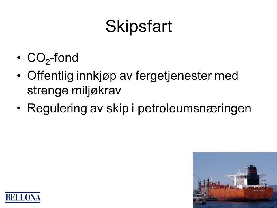 Skipsfart CO 2 -fond Offentlig innkjøp av fergetjenester med strenge miljøkrav Regulering av skip i petroleumsnæringen