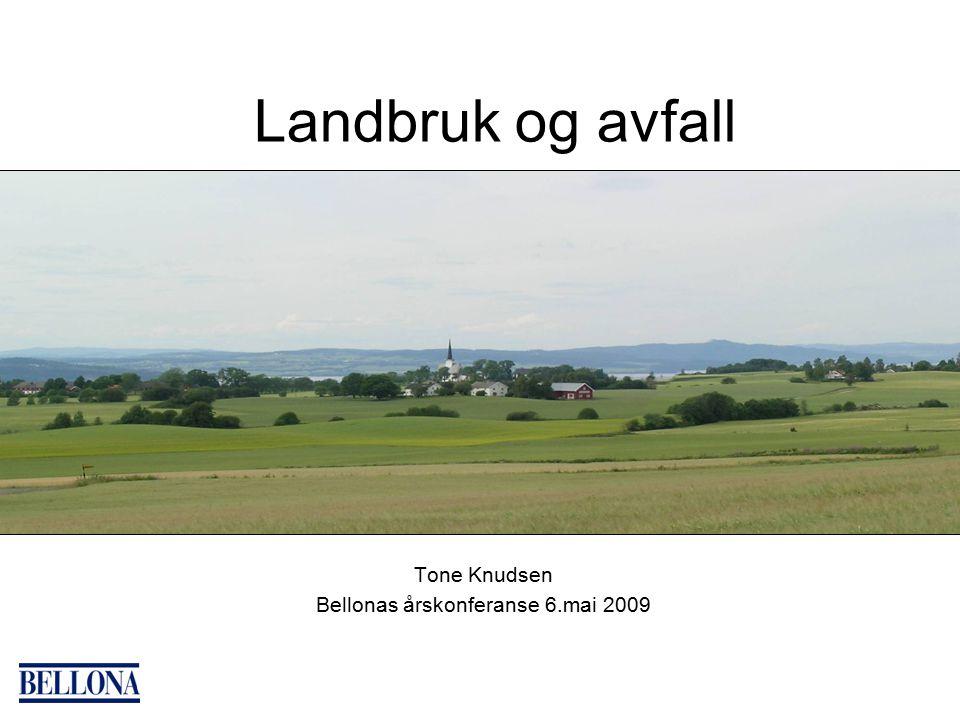 Landbruk og avfall Tone Knudsen Bellonas årskonferanse 6.mai 2009