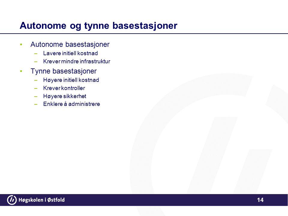 14 Autonome og tynne basestasjoner Autonome basestasjoner –Lavere initiell kostnad –Krever mindre infrastruktur Tynne basestasjoner –Høyere initiell k