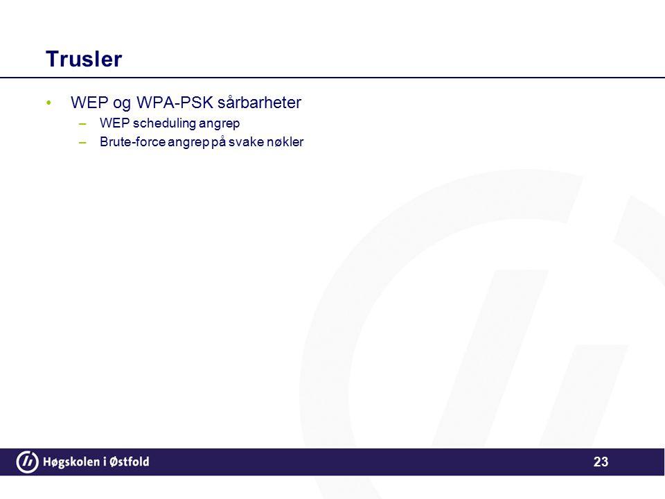 23 Trusler WEP og WPA-PSK sårbarheter –WEP scheduling angrep –Brute-force angrep på svake nøkler
