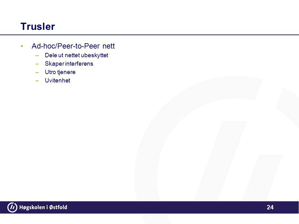 24 Trusler Ad-hoc/Peer-to-Peer nett –Dele ut nettet ubeskyttet –Skaper interferens –Utro tjenere –Uvitenhet