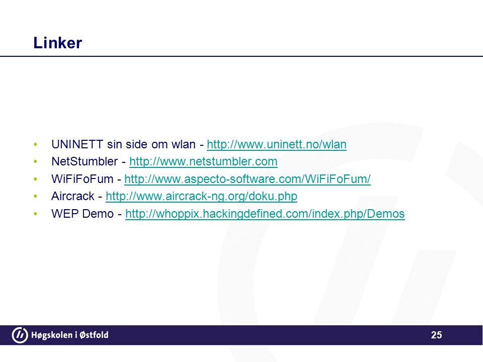 25 Linker UNINETT sin side om wlan - http://www.uninett.no/wlanhttp://www.uninett.no/wlan NetStumbler - http://www.netstumbler.comhttp://www.netstumbl
