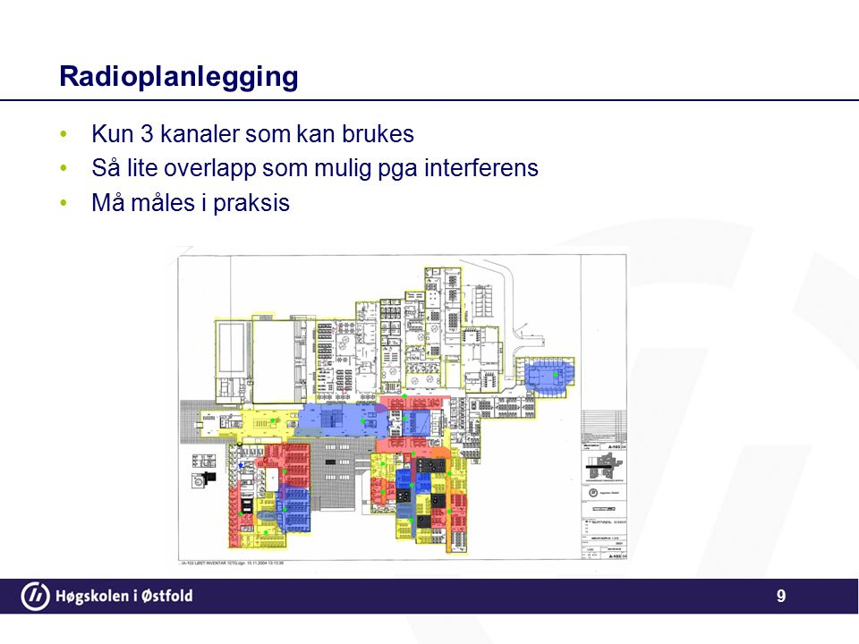 9 Radioplanlegging Kun 3 kanaler som kan brukes Så lite overlapp som mulig pga interferens Må måles i praksis