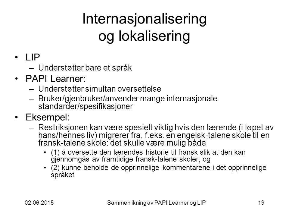 02.06.2015Sammenlikning av PAPI Learner og LIP19 Internasjonalisering og lokalisering LIP –Understøtter bare et språk PAPI Learner: –Understøtter simultan oversettelse –Bruker/gjenbruker/anvender mange internasjonale standarder/spesifikasjoner Eksempel: –Restriksjonen kan være spesielt viktig hvis den lærende (i løpet av hans/hennes liv) migrerer fra, f.eks.