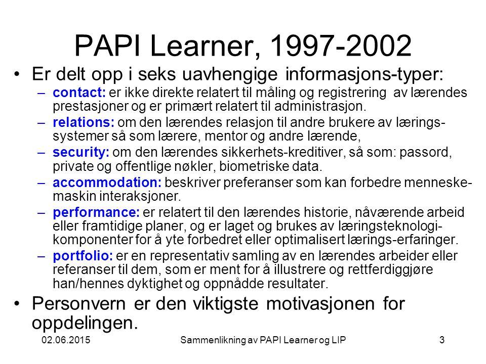 02.06.2015Sammenlikning av PAPI Learner og LIP3 PAPI Learner, 1997-2002 Er delt opp i seks uavhengige informasjons-typer: –contact: er ikke direkte relatert til måling og registrering av lærendes prestasjoner og er primært relatert til administrasjon.