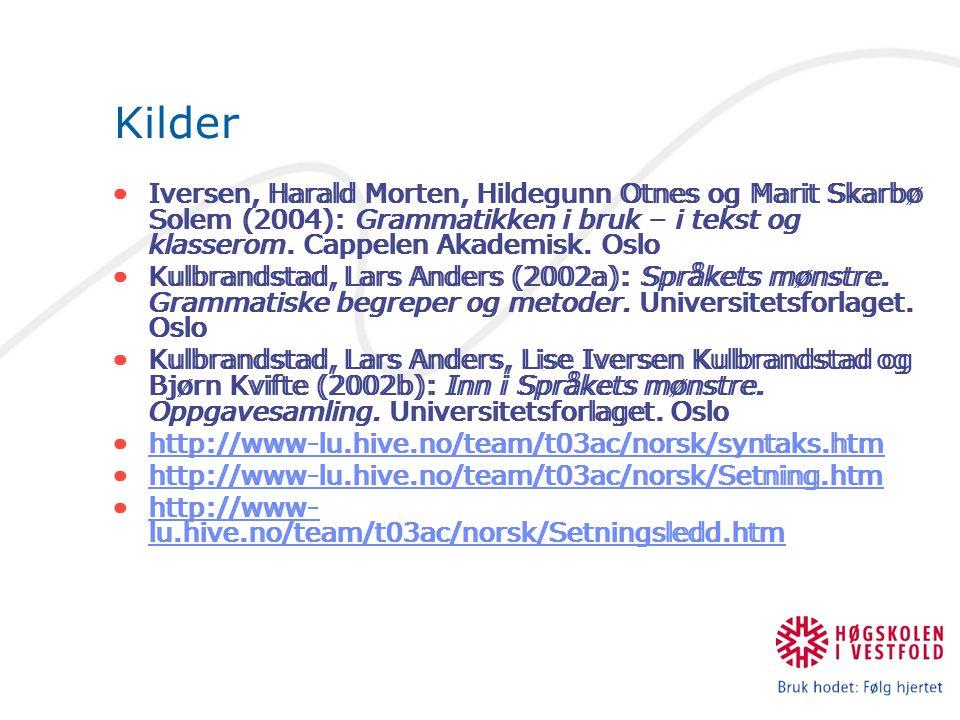Kilder Iversen, Harald Morten, Hildegunn Otnes og Marit Skarbø Solem (2004): Grammatikken i bruk – i tekst og klasserom.