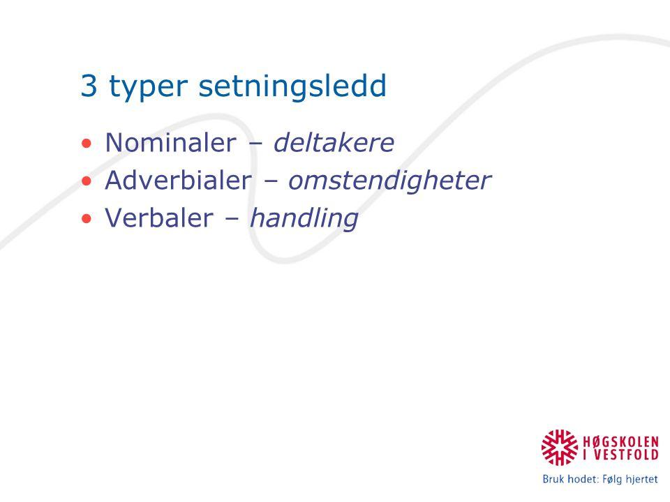 Nominaler – deltakere (Kan erstattes av pronomen) Substantiver Pronomen Adjektiv Substantiviske fraser Videre inndeling:  Subjekter  Objekter  Predikativer