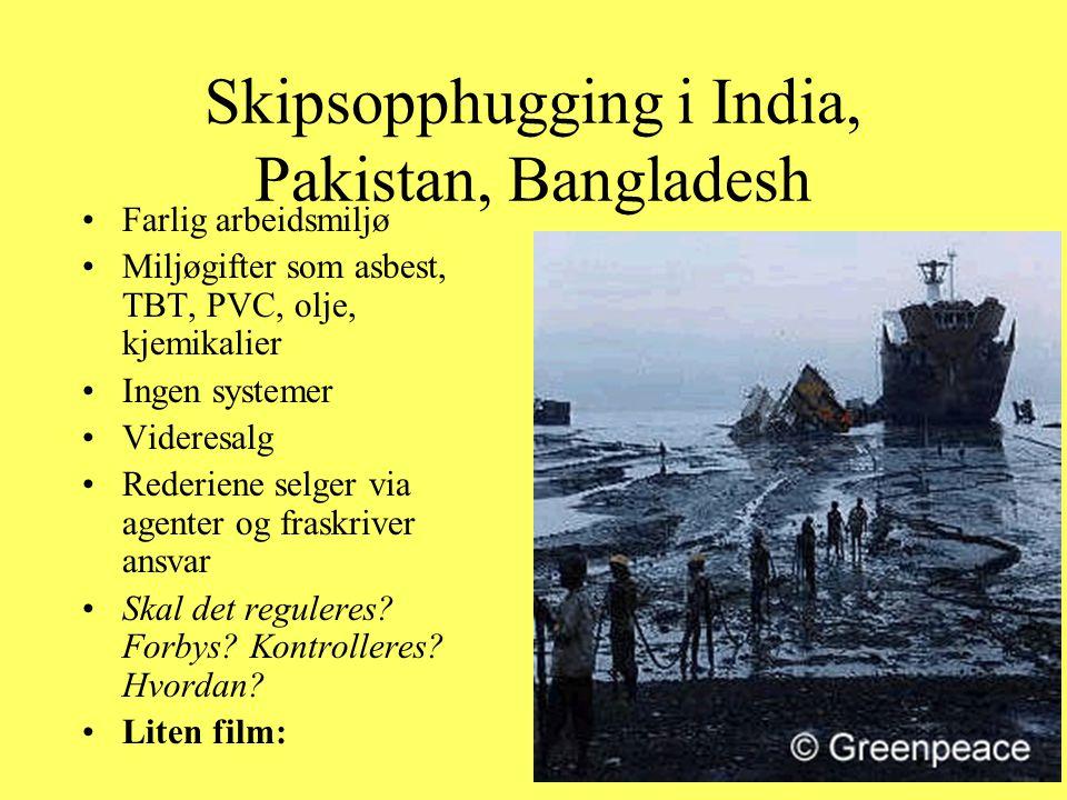 Skipsopphugging i India, Pakistan, Bangladesh Farlig arbeidsmiljø Miljøgifter som asbest, TBT, PVC, olje, kjemikalier Ingen systemer Videresalg Rederi