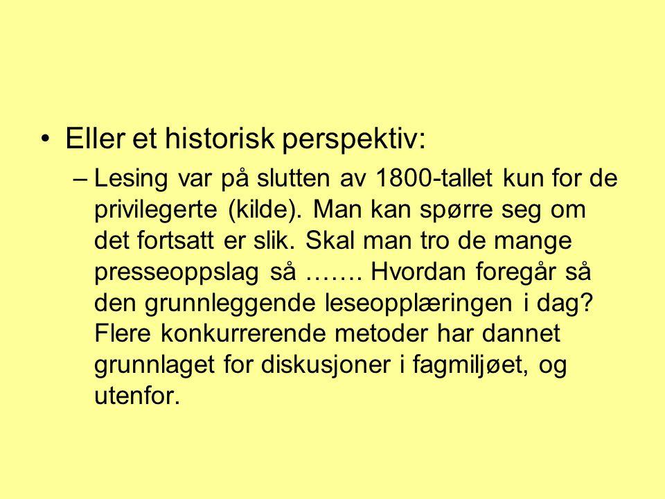 Eller et historisk perspektiv: –Lesing var på slutten av 1800-tallet kun for de privilegerte (kilde). Man kan spørre seg om det fortsatt er slik. Skal