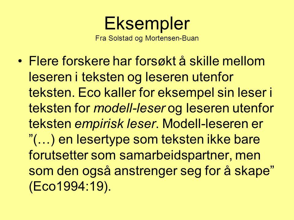 Eksempler Fra Solstad og Mortensen-Buan Flere forskere har forsøkt å skille mellom leseren i teksten og leseren utenfor teksten. Eco kaller for eksemp