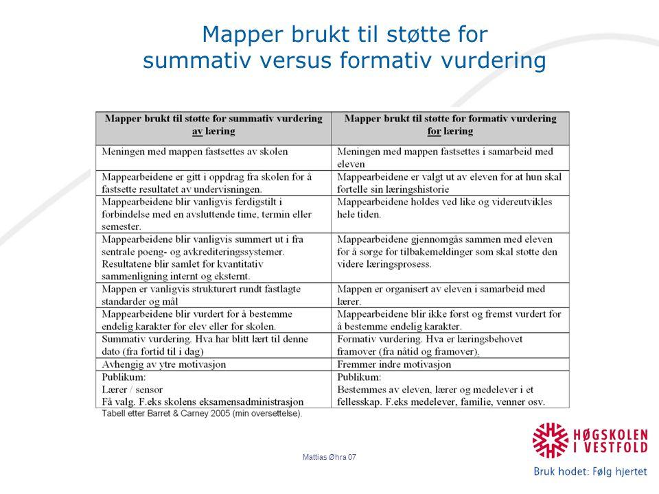 Mattias Øhra 07 Mapper brukt til støtte for summativ versus formativ vurdering