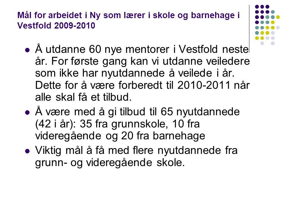 Mål for arbeidet i Ny som lærer i skole og barnehage i Vestfold 2009-2010 Å utdanne 60 nye mentorer i Vestfold neste år. For første gang kan vi utdann