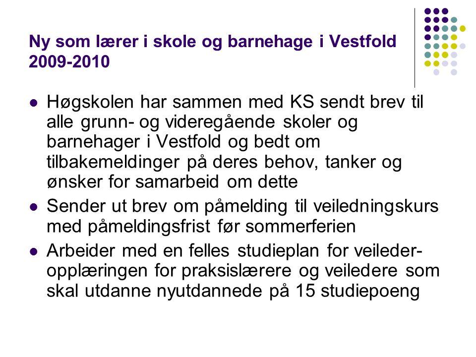 Ny som lærer i skole og barnehage i Vestfold 2009-2010 Høgskolen har sammen med KS sendt brev til alle grunn- og videregående skoler og barnehager i V