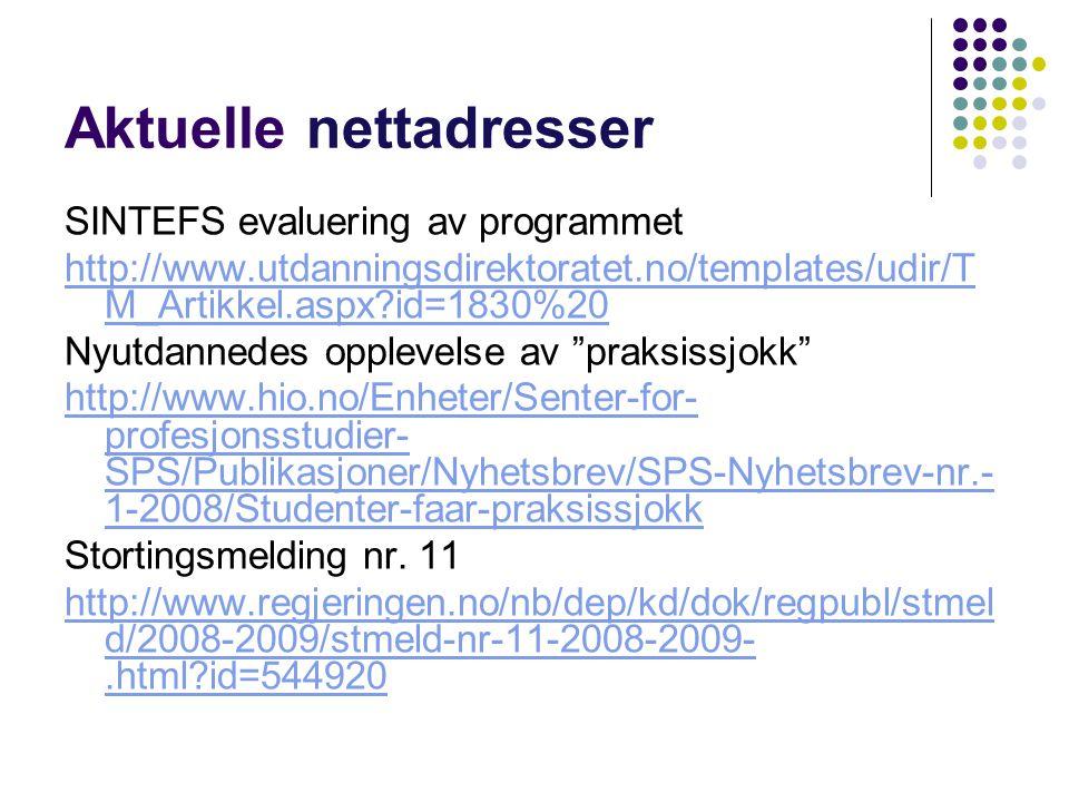 Aktuelle nettadresser SINTEFS evaluering av programmet http://www.utdanningsdirektoratet.no/templates/udir/T M_Artikkel.aspx?id=1830%20 Nyutdannedes o