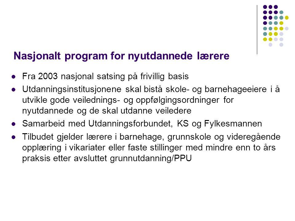 Nasjonalt program for nyutdannede lærere Fra 2003 nasjonal satsing på frivillig basis Utdanningsinstitusjonene skal bistå skole- og barnehageeiere i å