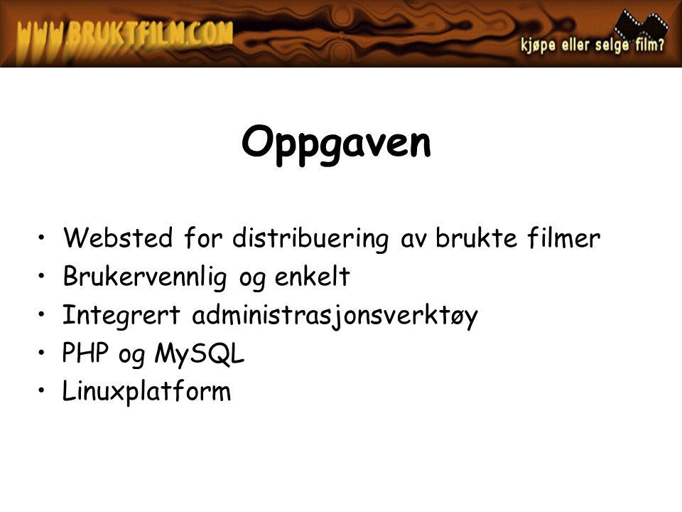 Oppgaven Websted for distribuering av brukte filmer Brukervennlig og enkelt Integrert administrasjonsverktøy PHP og MySQL Linuxplatform