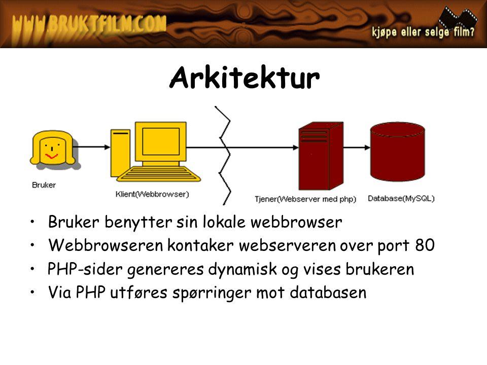 Arkitektur Bruker benytter sin lokale webbrowser Webbrowseren kontaker webserveren over port 80 PHP-sider genereres dynamisk og vises brukeren Via PHP