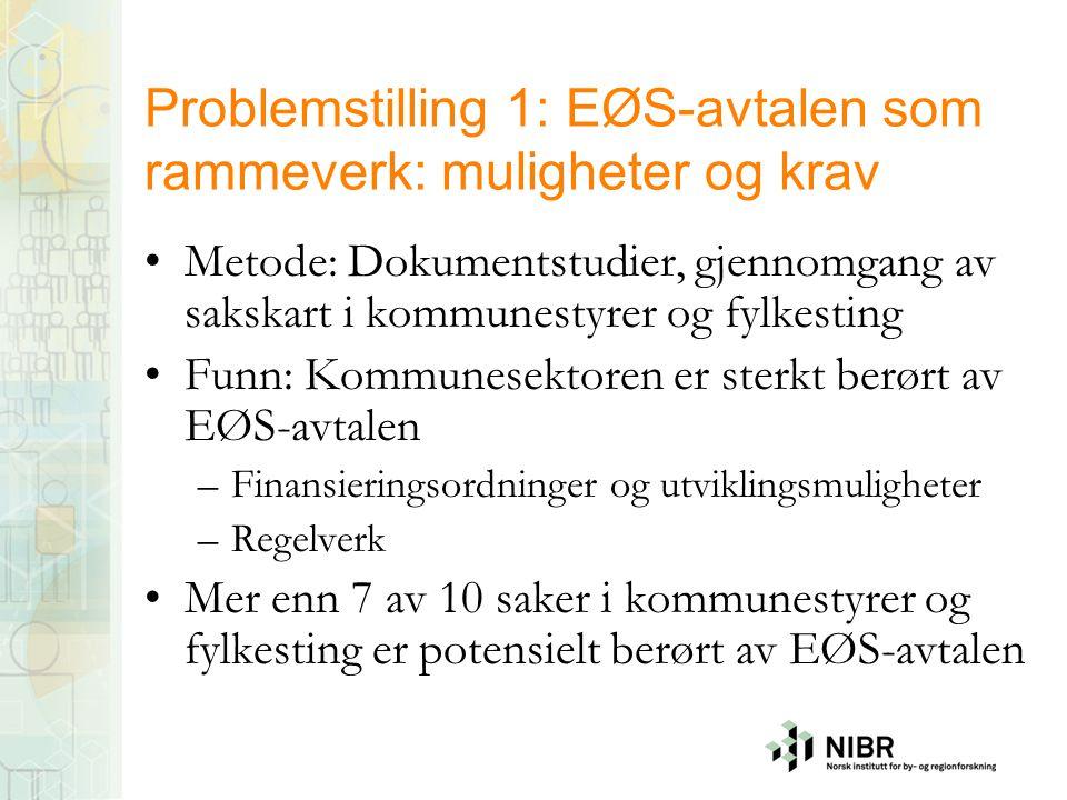 Problemstilling 1: EØS-avtalen som rammeverk: muligheter og krav Metode: Dokumentstudier, gjennomgang av sakskart i kommunestyrer og fylkesting Funn: