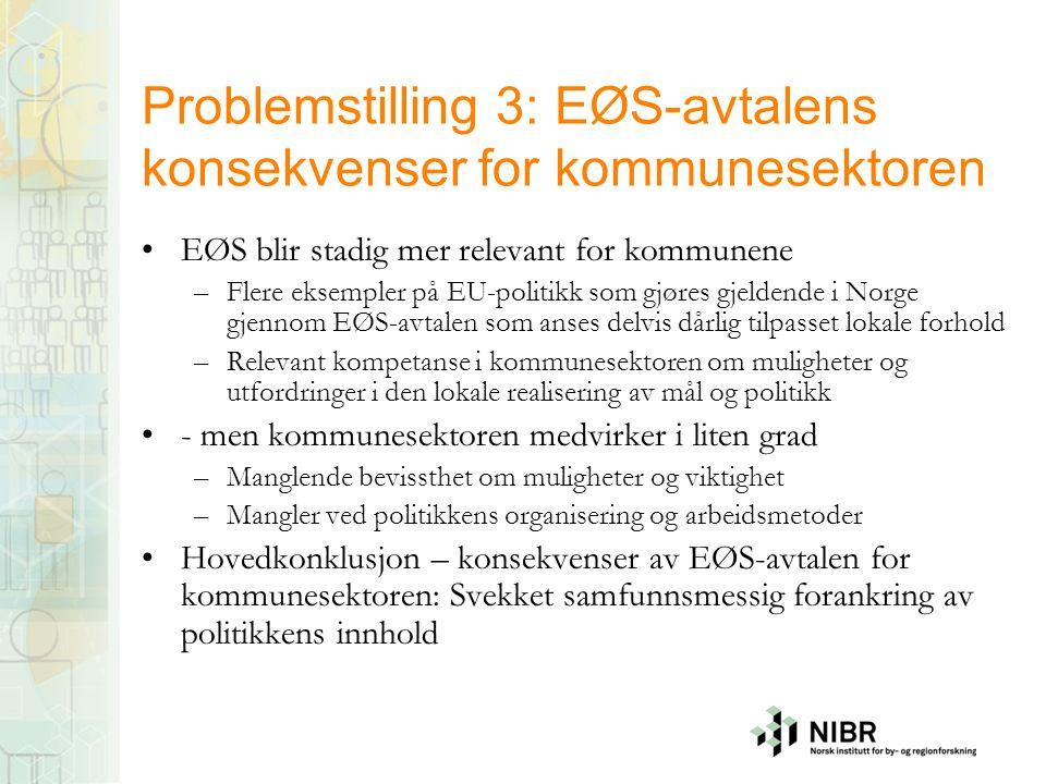 Problemstilling 3: EØS-avtalens konsekvenser for kommunesektoren EØS blir stadig mer relevant for kommunene –Flere eksempler på EU-politikk som gjøres