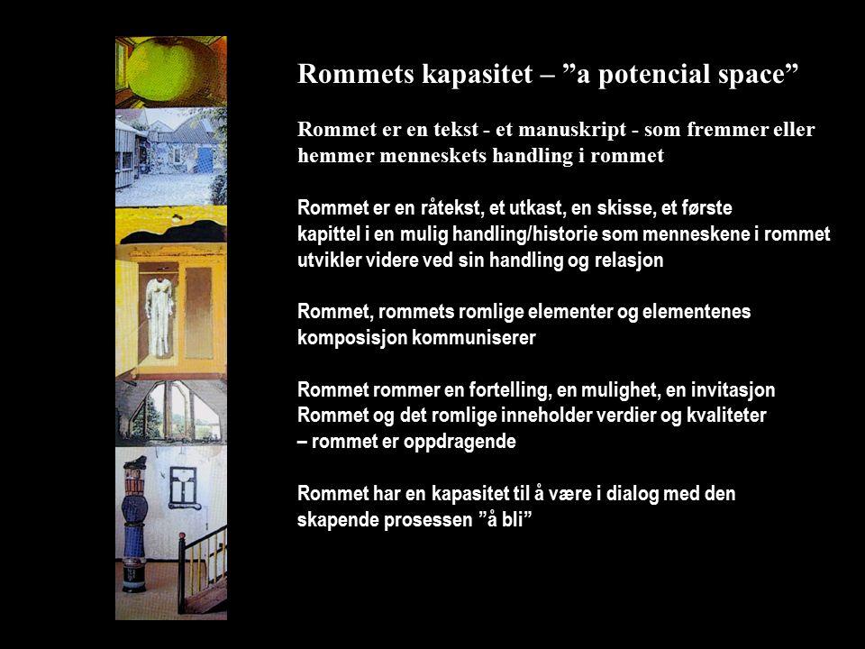 Rommets kapasitet – a potencial space Rommet er en tekst - et manuskript - som fremmer eller hemmer menneskets handling i rommet Rommet er en råtekst, et utkast, en skisse, et første kapittel i en mulig handling/historie som menneskene i rommet utvikler videre ved sin handling og relasjon Rommet, rommets romlige elementer og elementenes komposisjon kommuniserer Rommet rommer en fortelling, en mulighet, en invitasjon Rommet og det romlige inneholder verdier og kvaliteter – rommet er oppdragende Rommet har en kapasitet til å være i dialog med den skapende prosessen å bli