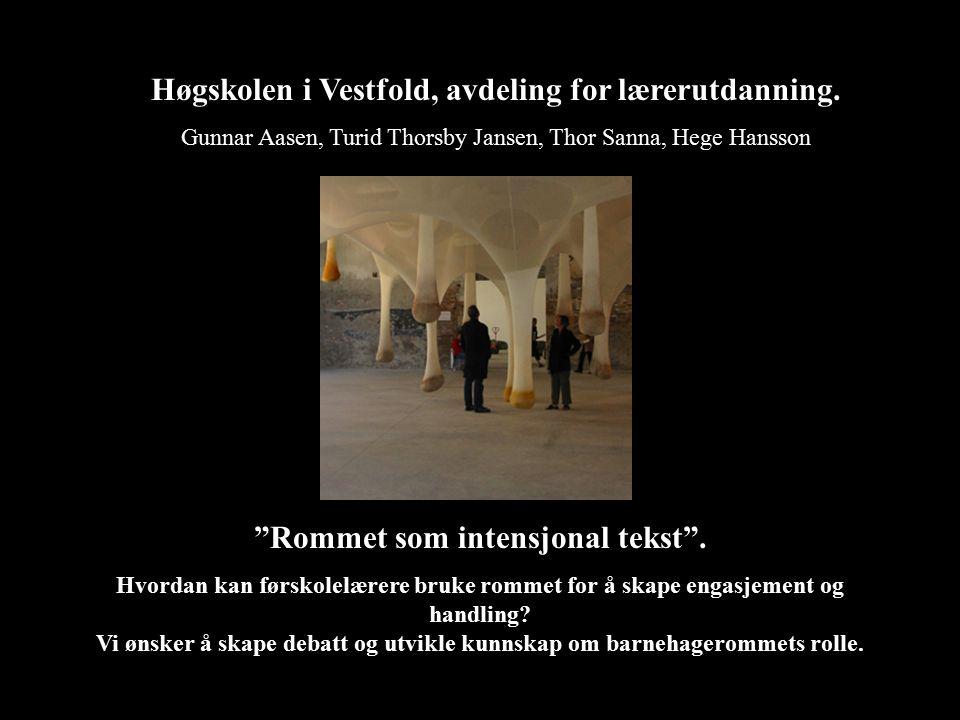 """Høgskolen i Vestfold, avdeling for lærerutdanning. Gunnar Aasen, Turid Thorsby Jansen, Thor Sanna, Hege Hansson """"Rommet som intensjonal tekst"""". Hvorda"""