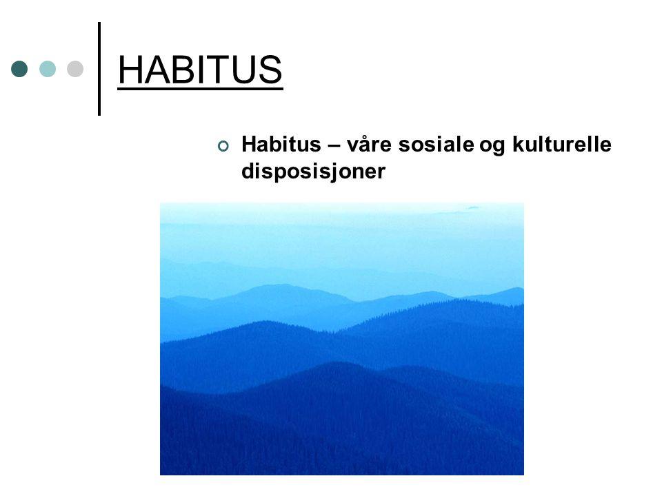 HABITUS Habitus – våre sosiale og kulturelle disposisjoner
