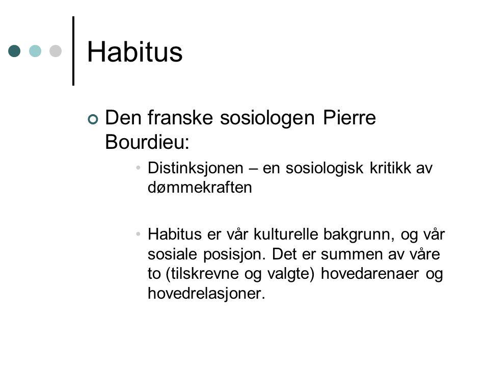 Habitus Den franske sosiologen Pierre Bourdieu: Distinksjonen – en sosiologisk kritikk av dømmekraften Habitus er vår kulturelle bakgrunn, og vår sosi