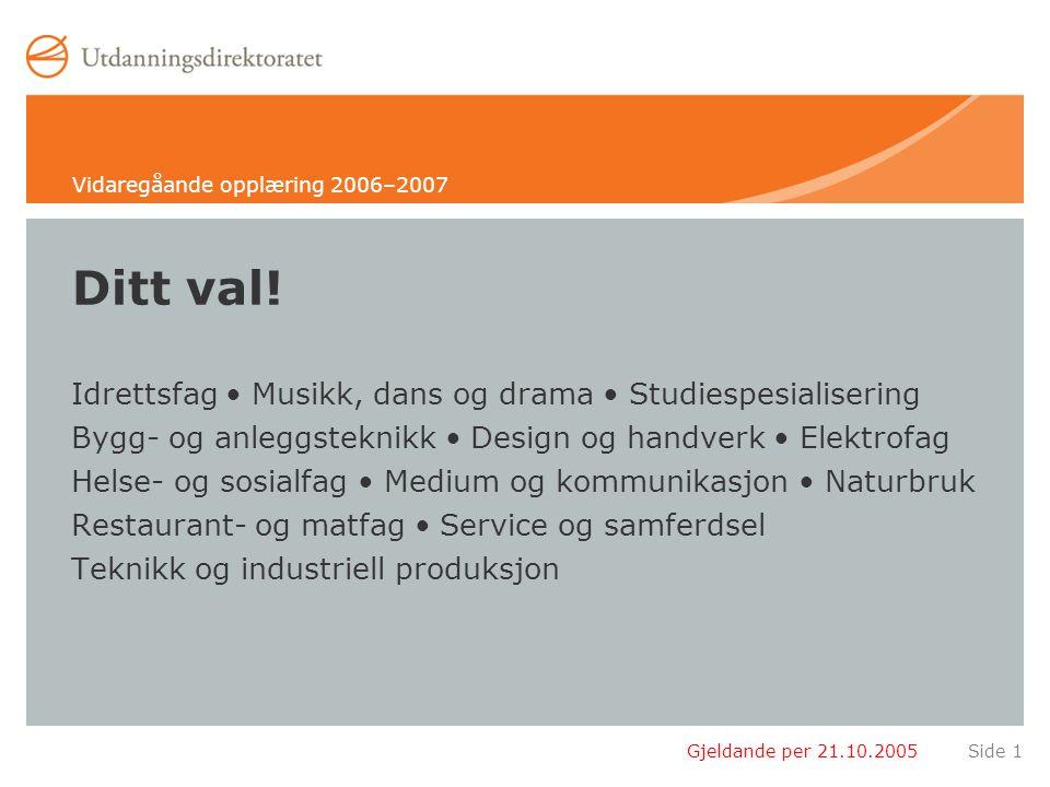 Gjeldande per 21.10.2005Side 52 Teknikk og industriell produksjon