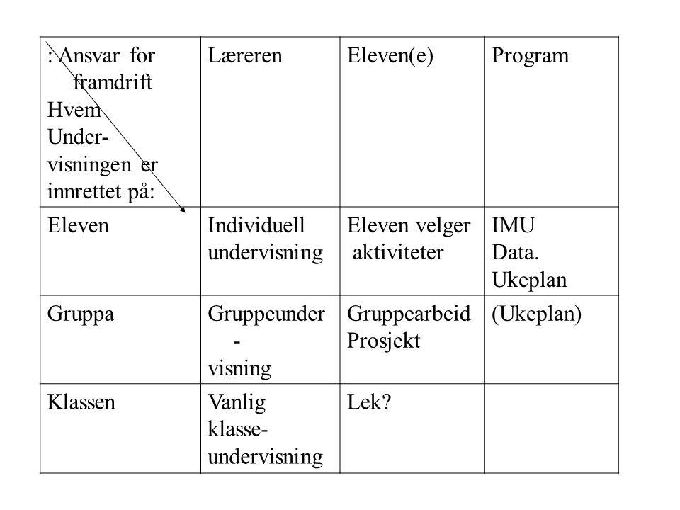 : Ansvar for framdrift Hvem Under- visningen er innrettet på: LærerenEleven(e)Program ElevenIndividuell undervisning Eleven velger aktiviteter IMU Data.
