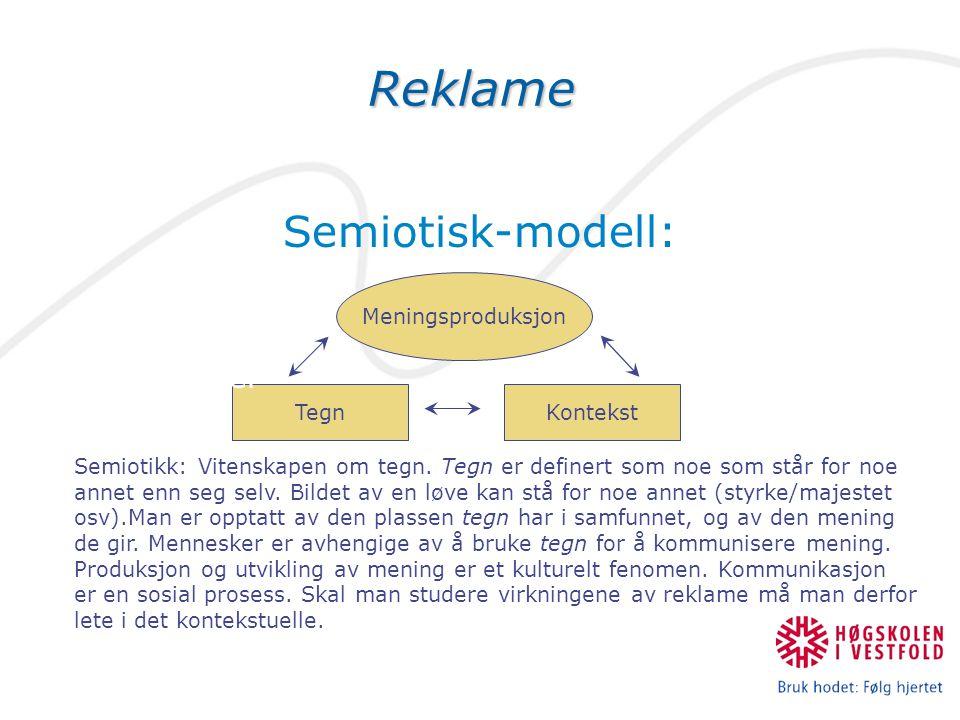 TegnReklame Semiotisk-modell: Avsender Budskap Kanal Mottaker Kontekst Meningsproduksjon Semiotikk: Vitenskapen om tegn. Tegn er definert som noe som