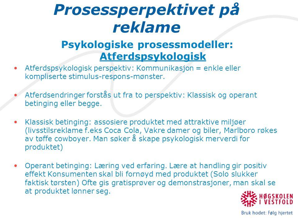 Prosessperpektivet på reklame Psykologiske prosessmodeller: Atferdspsykologisk Atferdspsykologisk perspektiv: Kommunikasjon = enkle eller kompliserte stimulus-respons-mønster.
