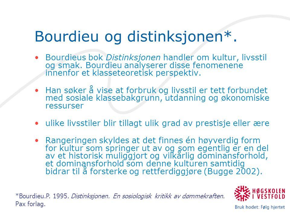 Bourdieu og distinksjonen*. Bourdieus bok Distinksjonen handler om kultur, livsstil og smak. Bourdieu analyserer disse fenomenene innenfor et klassete