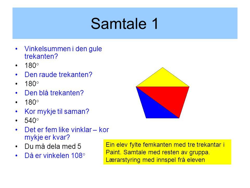 Samtale 1 Vinkelsummen i den gule trekanten. 180  Den raude trekanten.