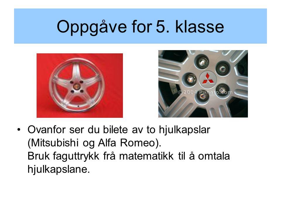 Oppgåve for 5. klasse Ovanfor ser du bilete av to hjulkapslar (Mitsubishi og Alfa Romeo).