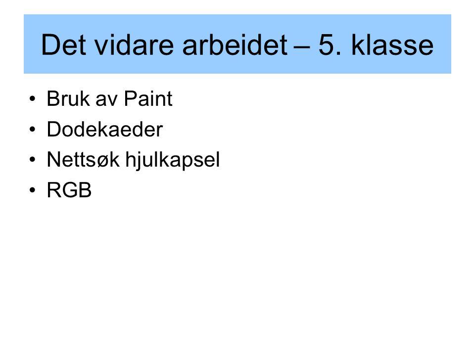 Det vidare arbeidet – 5. klasse Bruk av Paint Dodekaeder Nettsøk hjulkapsel RGB