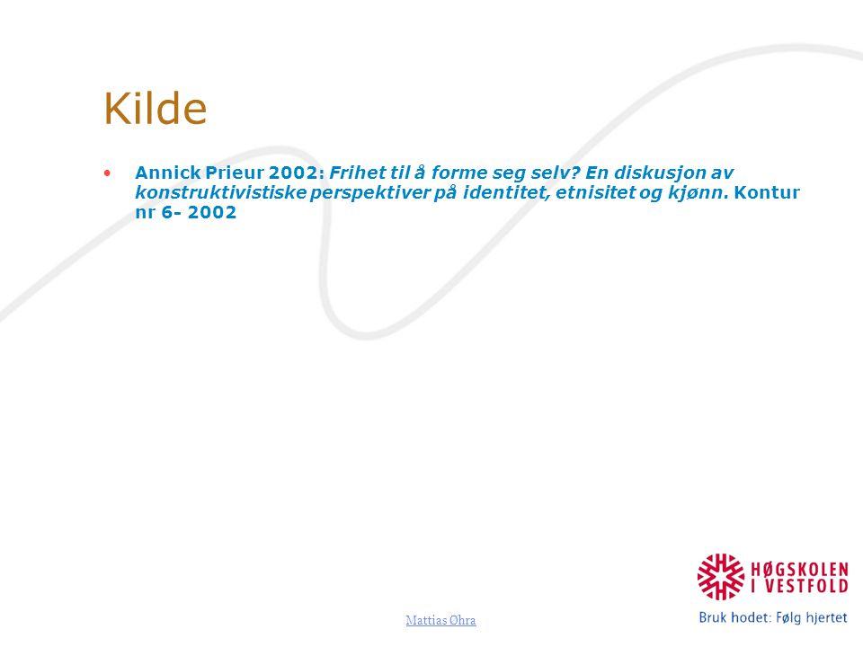 Mattias Øhra Kilde Annick Prieur 2002: Frihet til å forme seg selv? En diskusjon av konstruktivistiske perspektiver på identitet, etnisitet og kjønn.