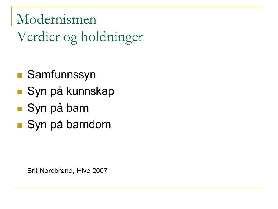 Modernismen Verdier og holdninger Samfunnssyn Syn på kunnskap Syn på barn Syn på barndom Brit Nordbrønd, Hive 2007