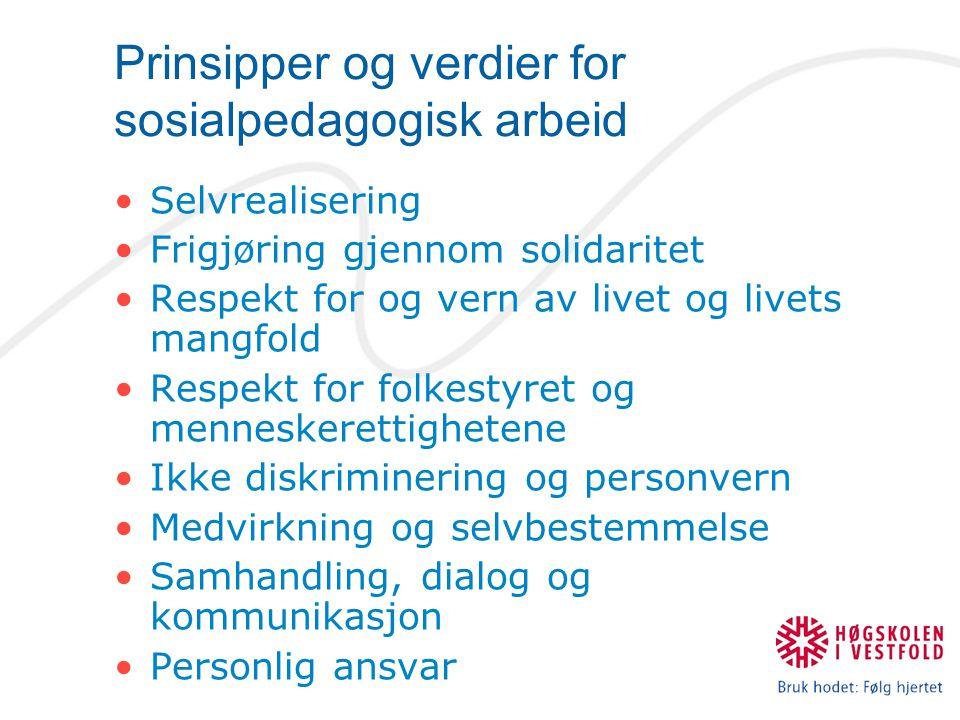 Prinsipper og verdier for sosialpedagogisk arbeid Selvrealisering Frigjøring gjennom solidaritet Respekt for og vern av livet og livets mangfold Respe