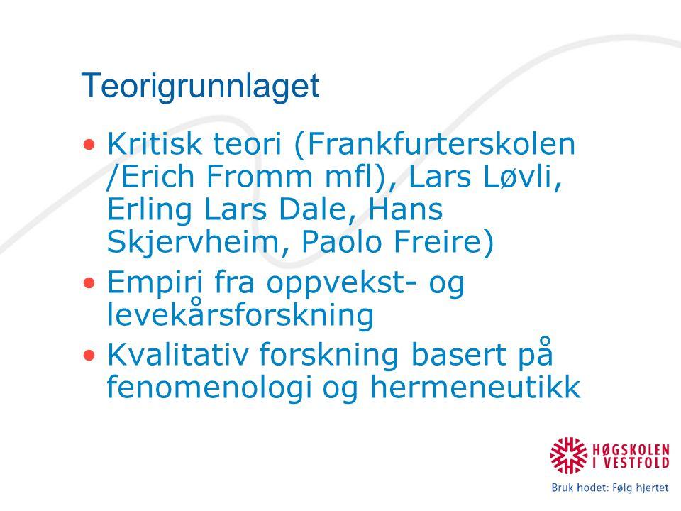 Teorigrunnlaget Kritisk teori (Frankfurterskolen /Erich Fromm mfl), Lars Løvli, Erling Lars Dale, Hans Skjervheim, Paolo Freire) Empiri fra oppvekst-