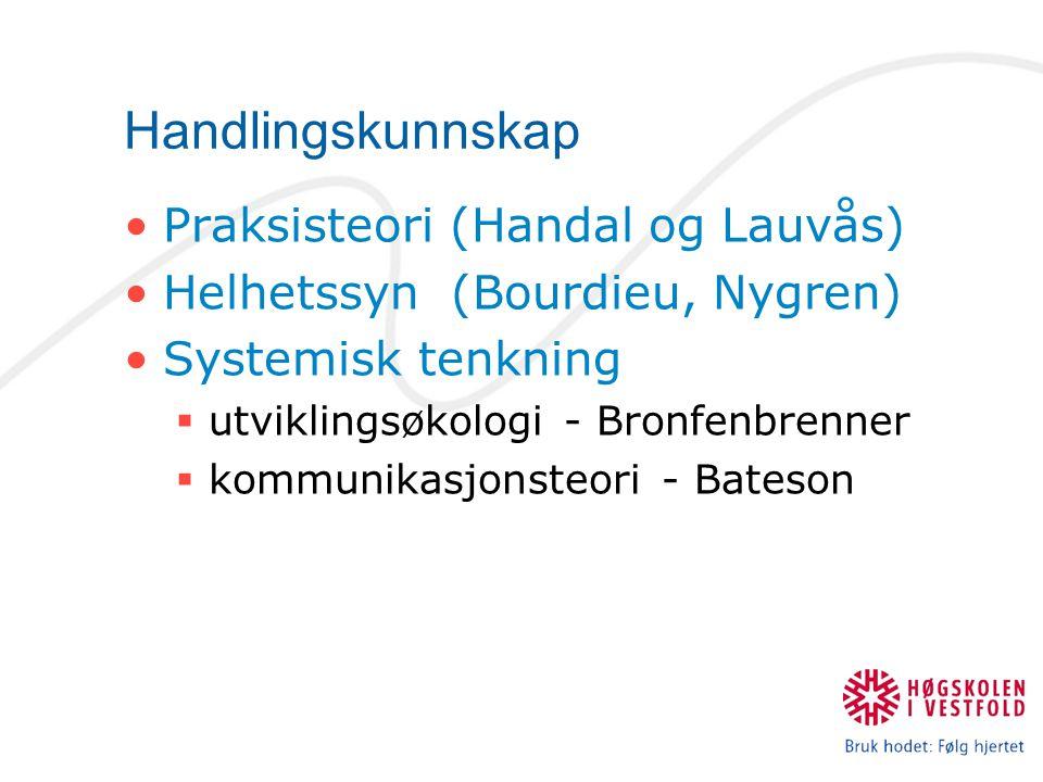 Handlingskunnskap Praksisteori (Handal og Lauvås) Helhetssyn (Bourdieu, Nygren) Systemisk tenkning  utviklingsøkologi - Bronfenbrenner  kommunikasjo